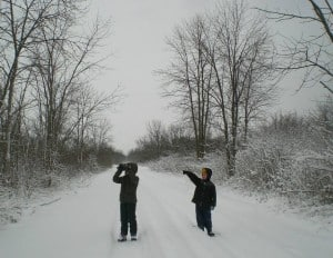 Young birders during the Pelee Island 2013 Christmas Bird Count