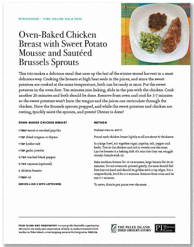 Oven Baked Chicken Breast with Sweet Potato Mousse and Sautéed Brussel Sprouts