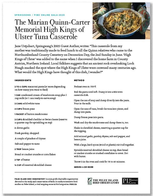 The Mirian Quinn-Carter Memorial High Kings of Ulster Tuna Casserole
