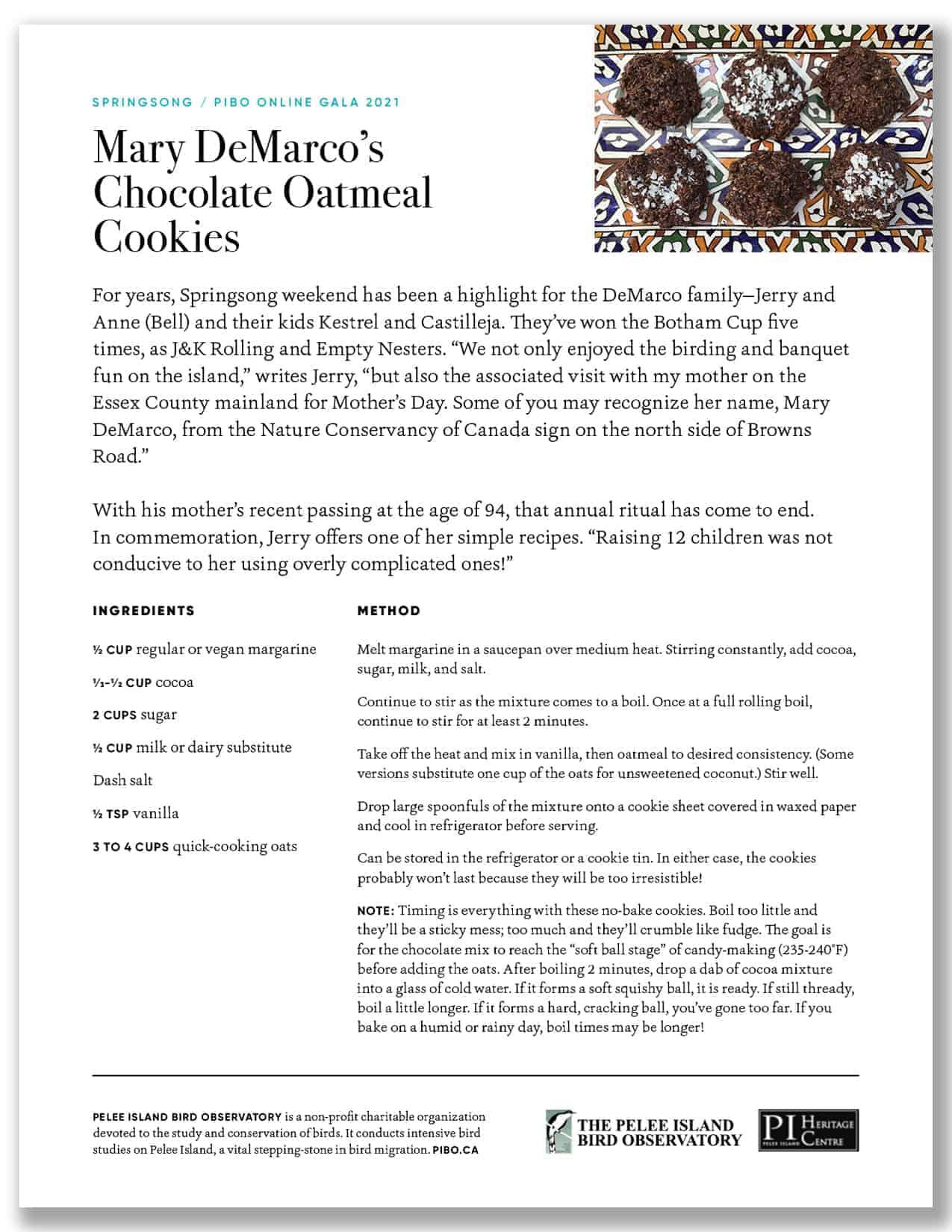 Mary Demarco's Chocolate Oatmeal Cookies